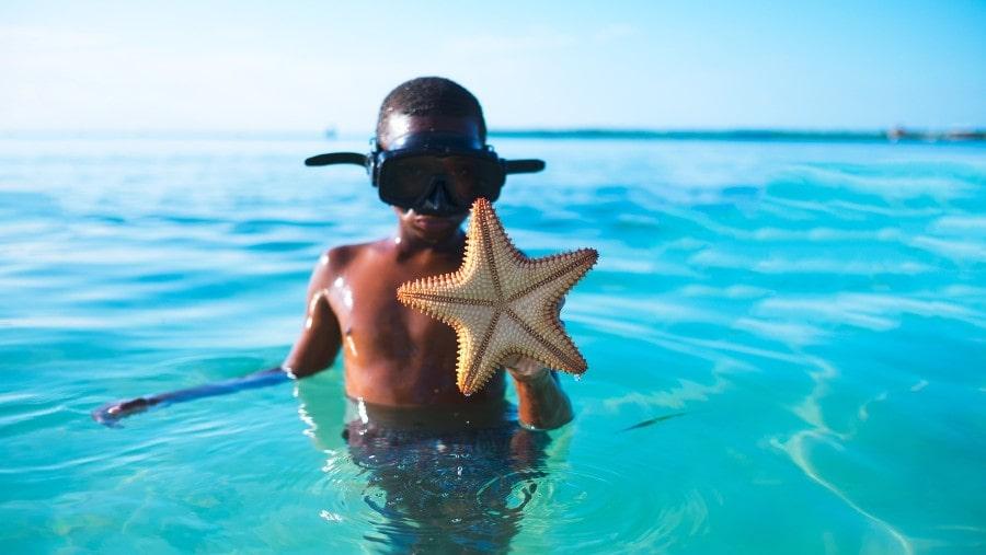 Black boy in ocean with starfish