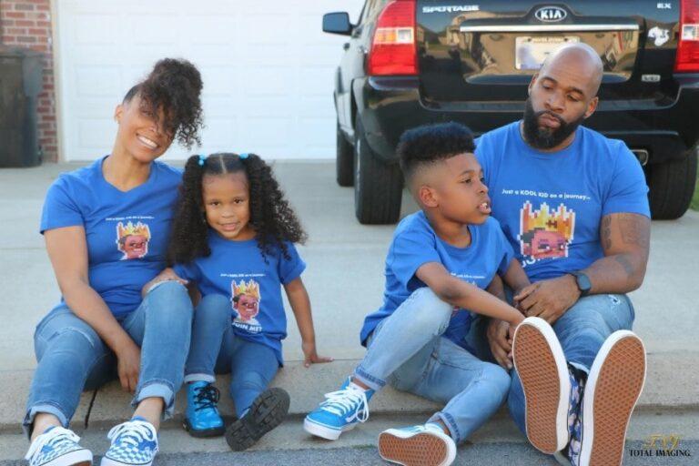 Black family of 4 sitting on ground
