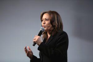 Kamala Harris speaking in mic