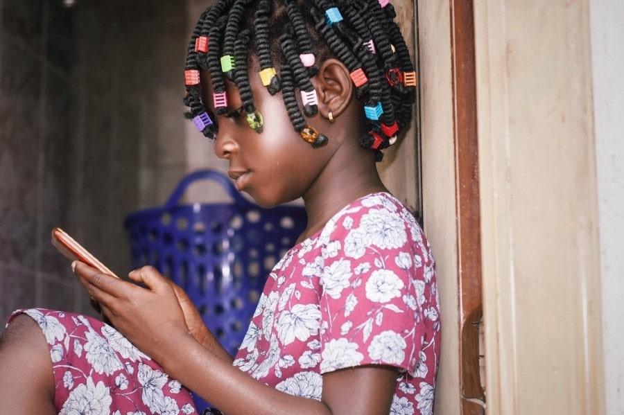 Black girl on cell phone