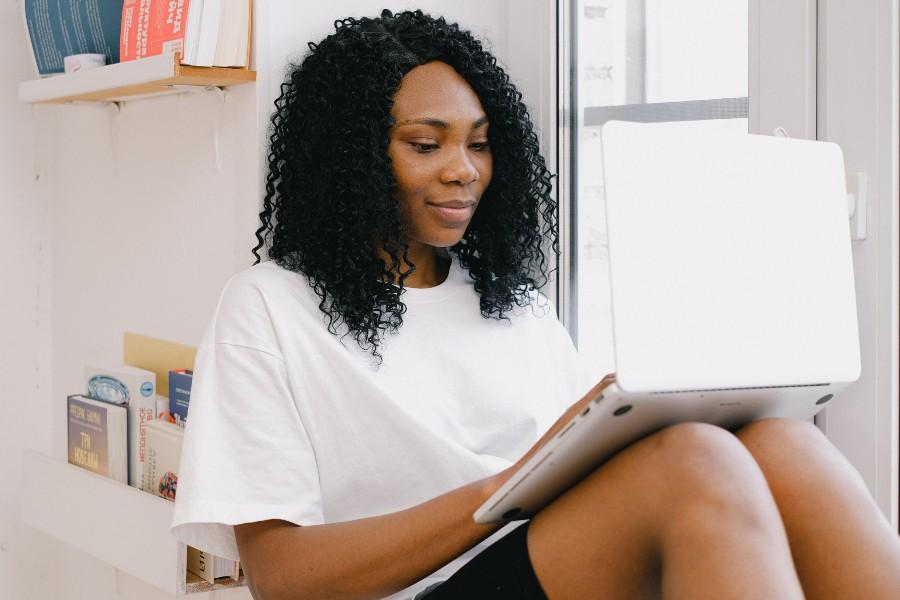 black woman with laptop